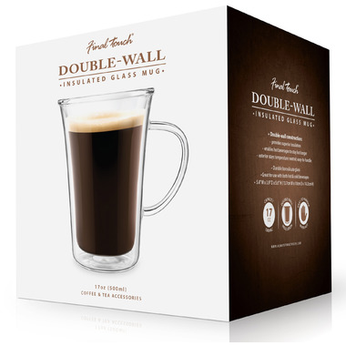 Final Touch Large Double Wall Insulated Glass Coffee Mug