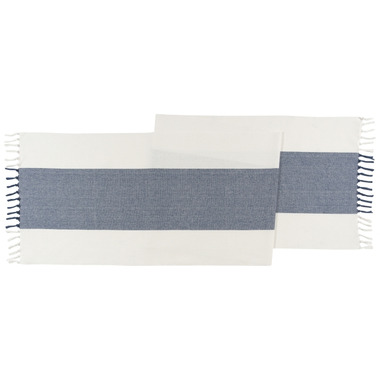 Now Designs Table Runner Fringed Wide Stripe Navy
