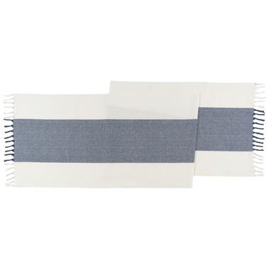 Now Designs Table Runner Fringed Wide Stripe Navy