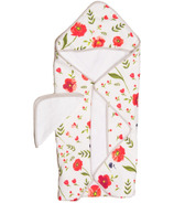 Little Unicorn Cotton Hooded Towel & Wash Cloth Set Summer Poppy