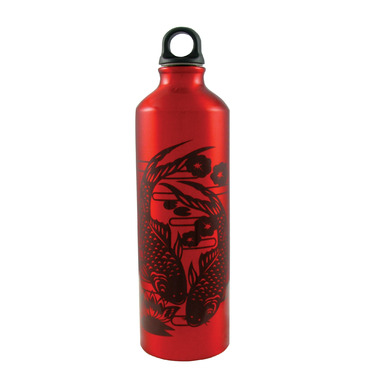 Gaiam Koi Fish Print Red Aluminum Water Bottle