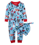 Little Blue House by Hatley Baby Romper with Cap Vintage Holiday Blue