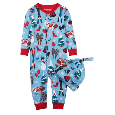 Hatley Baby Romper with Cap Vintage Holiday Blue