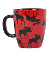 Little Blue House Ceramic Mug Moose on Red