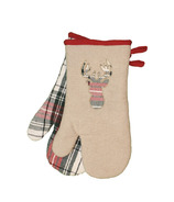 Domay Xmas Tartan Plaid Deer Oven Mitt Set