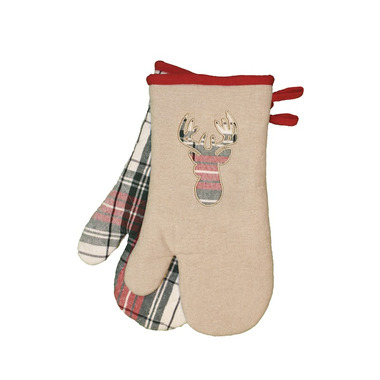 Domay Tartan Plaid Deer Oven Mitt Set