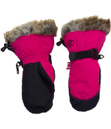 Calikids Water Repellant Nylon Shell & Faux Fur Mitts Pink