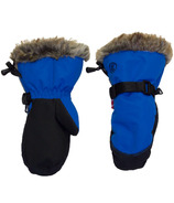 Calikids Water Repellant Nylon Shell & Faux Fur Mitts Blue