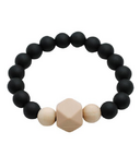 Glitter & Spice Adult Silicone Teething Bracelet Gemstone in Midnight Black