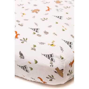 Little Unicorn Cotton Muslin Fitted Sheet Forest Friends