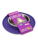 Messy Cats Stainless Steel Cat Feeder with Non-Slip Base Purple