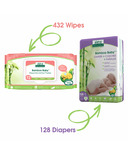 Aleva Naturals Bamboo Size NB Diaper and Sensitive Wipes Bundle