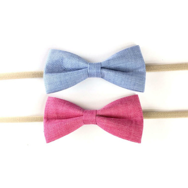 Baby Wisp Fabric Tuxedo Bow Headband Blue Fuschia