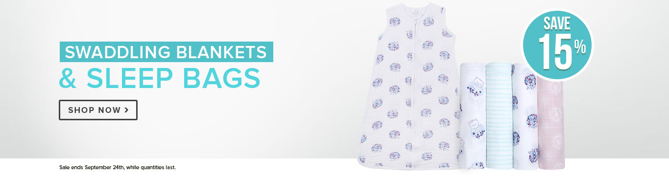 Save 15% off all Swaddling Blankets & Sleep bags