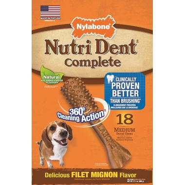 Nutri Dent Complete Dental Chews Filet Mignon Medium Size 18 Pack