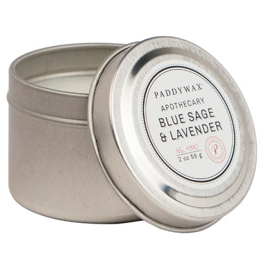 Paddywax Blue Apothecary Travel Tin Blue Sage & Lavender Candle
