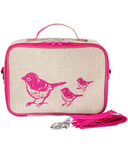 SoYoung Raw Linen Pink Birds Lunch Box