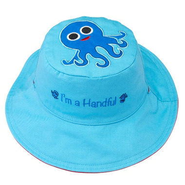 Flapjack Kids Reversible Sun Hat Whale & Octopus