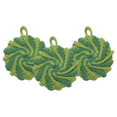 Now Designs Dishcloth Tawashi Scrubbers Set Spiral Green