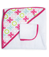 JJ Cole Hooded Towel & Washcloth Pink Butterfly