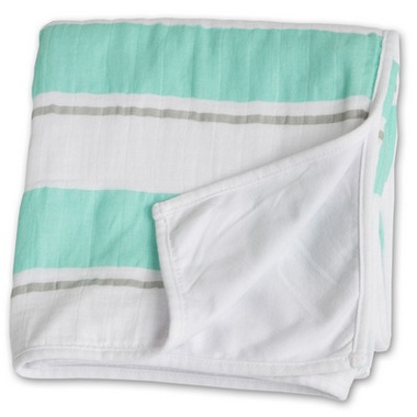 Lulujo Baby My Childhood Blanket Aqua Bold Stripe