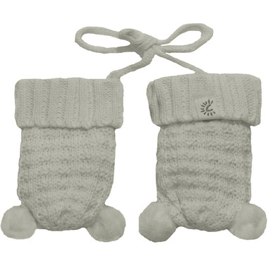 Calikids 100% Cotton Knit Mitts with Pom Poms White Allyssum