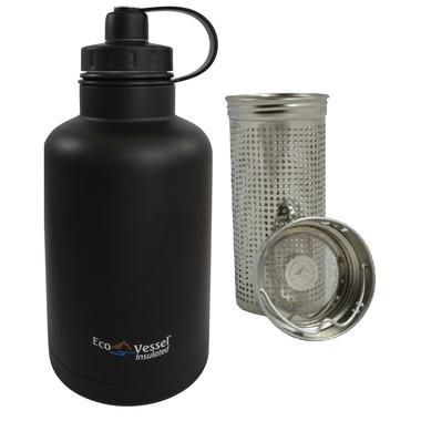 Eco Vessel BOSS Vacuum Insulated Stainless Steel Growler Bottle Black
