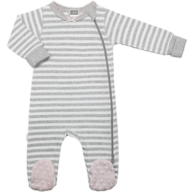 Kushies Side Zip Sleeper Light Grey Stripes