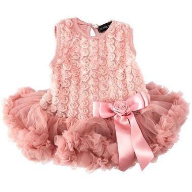 Olivia Rose Rosette Onesie Pettidress Dusty Pink
