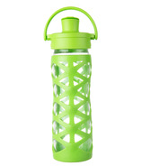 Lifefactory Glass Bottle with Active Flip Cap & Lime Silicone Sleeve