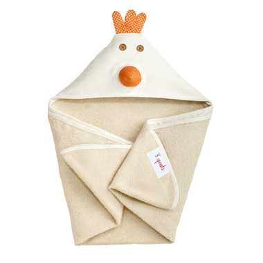3 Sprouts Cotton Hooded Towel Cream Chicken
