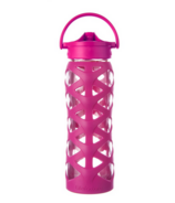 Lifefactory Glass Water Bottle with Axis Straw Cap & Guava Sleeve
