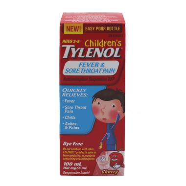 Children\'s Tylenol Fever & Sore Throat Pain Suspension Liquid