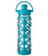 Lifefactory Glass Bottle with Active Flip Cap & Ultramarine Silicone Sleeve