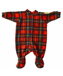 Snug As A Bug Baby Footed Onesie Christmas Plaid