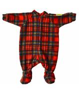 Snug As A Bug Baby Footed Onesie Christmas Plaid