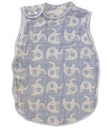 Living Textiles Muslin Reversible Sleeping Bag Blue Elephant