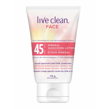 Live Clean Face Mineral Sunscreen Lotion