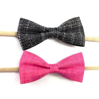 Baby Wisp Fabric Tuxedo Bow Headband Black Fuschia