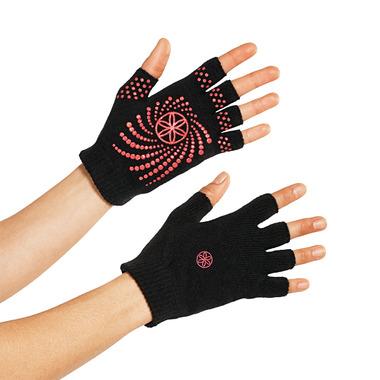 Gaiam Grippy Yoga Gloves Black & Pink