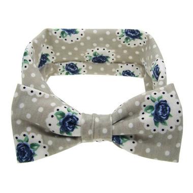 Baby Wisp Big Bow Headband Prairie Grey & Blue Flowers