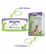 Aleva Naturals Bamboo Size 3 Diaper and Wipes Bundle