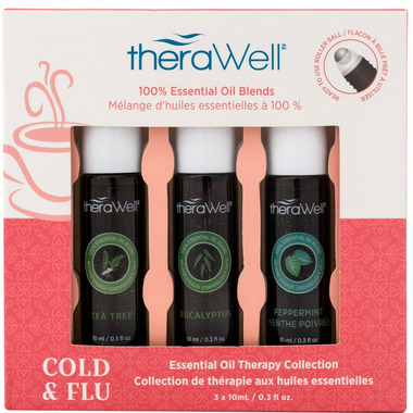 Therawell Essential Oil Blend 3 Pack Cold & Flu Roll-On
