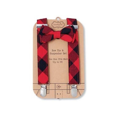 Mud Pie Buffalo Checker Suspender Set