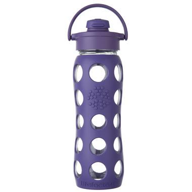 Lifefactory Glass Bottle Purple Flip Cap & Silicone Sleeve