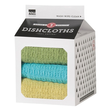 Now Designs Milk Carton Dishcloth Set Chartreuse, Turquoise & Leaf