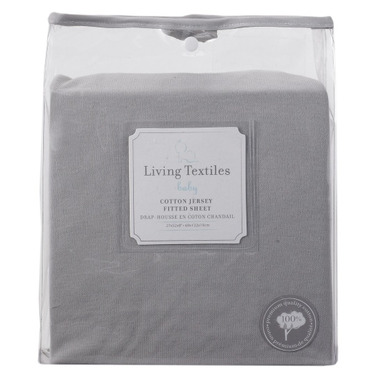 Living Textiles Jersey Fitted Sheet Grey
