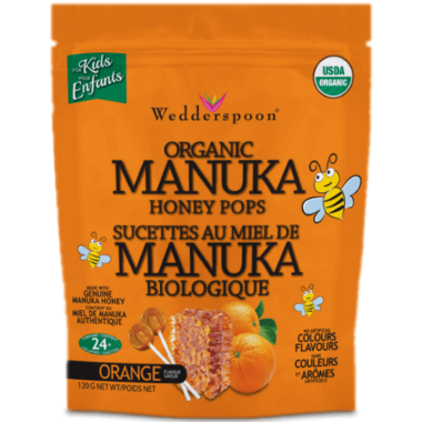 Wedderspoon Organic Manuka Honey Pops Orange