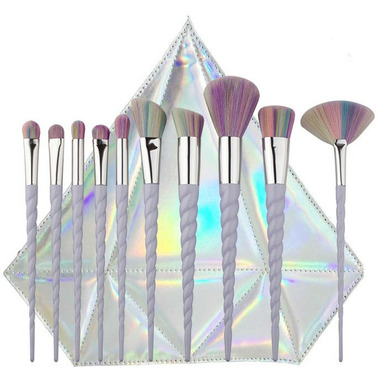 unicorn brush set. zoe ayla unicorn essentials brush set with diamond case