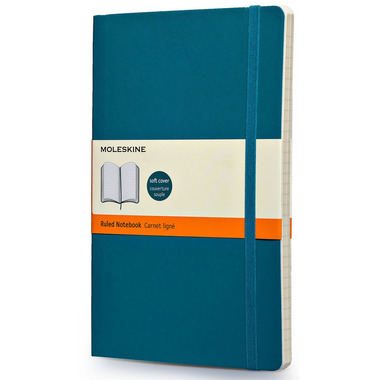 Moleskine Ruled Soft Notebook Large with Underwater Blue Cover